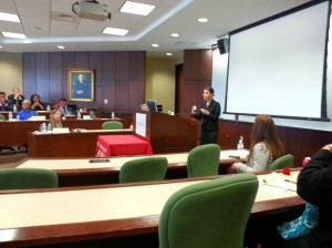 Professor Rose speaks during her presentation on juror language accommodation.